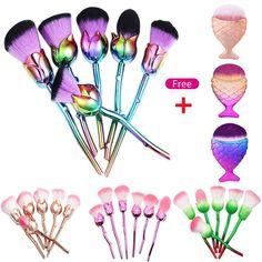 Rose Flower Shape Soft Face Powder Foundation Make Up Brush Makeup Tool Mz Makeup Guide, Makeup Tools, Makeup Ideas, Makeup Stuff, Cute Makeup, Gorgeous Makeup, Leg Makeup, Makeup Foundation, Powder Foundation
