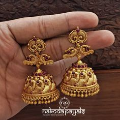 Gold plated pure silver jhumkas from Silver Jhumkas, Gold Jhumka Earrings, Indian Jewelry Earrings, Silver Jewelry Box, Jewelry Design Earrings, Gold Earrings Designs, Gold Jewellery Design, Silver Ring, Jewelry Rings