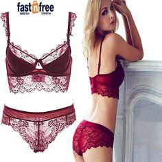 5823b5adb4 Ladies Lace Bra Underwired Plus Size Full Cup Large Bosom Red Wine  fashion   clothing