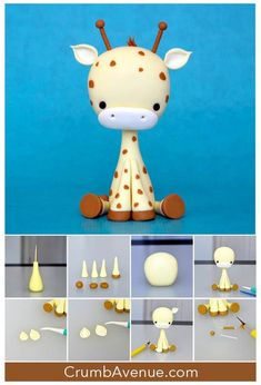 cute giraffe cake topper free tutorial figure figurine how to make step by step sugar craft cake decorating sugar art adorable kids baby shower birthday Crumb Avenue idea clay polymer clay inspiration fondant gum paste Fondant Giraffe, Giraffe Cakes, Safari Cakes, Fondant Baby, Giraffe Baby, Fondant Rose, Fondant Flowers, Giraffe Birthday Cakes, Black Fondant
