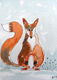 Original ACEO Watercolour Painting: ANIMALS: FOX | eBay