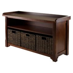 Granville Storage Bench with 3 Foldable Baskets in Walnut | Nebraska Furniture Mart