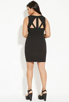 Forever 21+ - This stretch knit sheath dress features a sleeveless cut, a V-neckline, a concealed side zipper, and a cutout back.