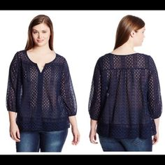 """Embroidered top, great cover up as well Long sleeve v neck embroidered top. 100% cotton in navy, looks great as a casual top and as a cover up as well. Across shoulder: 16"""" Bust: 50"""" Hem: 55"""" Sleeve opening: 11"""" Sleeve length: 19"""". The sleeve opening also has elastic. Lucky Brand Tops Tees - Long Sleeve"""