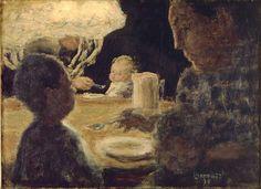 Lunch by Lamplight 1898 by Pierre Bonnard. Museums: Musée d' Orsay, Paris; Musee d' Orsay, Paris; Maurice Denis, Pierre Bonnard, Edouard Vuillard, Paul Gauguin, French Artists, Art History, Painting & Drawing, Modern Art, Opera