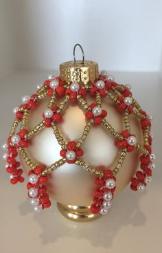 Beaded Ornaments Vintage Christmas Decor Victorian by Shivano Beaded Ornament Covers, Beaded Ornaments, Handmade Ornaments, Christmas Baubles, Holiday Ornaments, Handmade Christmas, Vintage Christmas, Beaded Christmas Decorations, Elegant Christmas Decor