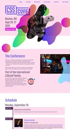 Colorful, long scrolling One Pager for the US leg of CSSConf held in Boston.