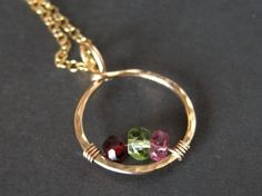 mothers birthstone necklace CIRCLE OF LOVE made with genuine gemstones  - by muyinmolly on Etsy