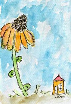 """Big Flower, Tiny House"" - Original Fine Art for Sale - Watercolor and Ink - © Kali Parsons - http://kaliparsons.blogspot.com"