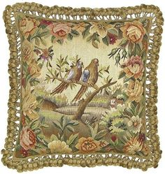 Two Doves Facing Right - 20 x 20 in. Aubusson pillow