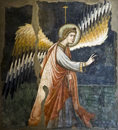 ÁNGEL FLAUTISTA Flutter Angel in a fragmentary fresco possibly by Giotto. Cappella Palatina of the Maschio Angoino, Naples. Fresco, Art Through The Ages, Renaissance Artists, Angels Among Us, Italian Painters, Traditional Paintings, Angel Art, Medieval Art, Tempera