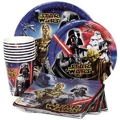 Star Wars Birthday Party Supplies Pack for 8 Guests - Lunch Plates, Dessert Plates, Lunch Napkins, Cups @trendingtoystore.com
