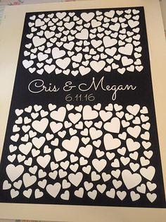 Hearts Multi Guest Book Alternative | 225 Signature Spaces | Rustic Wedding | Customer Photo | Wedding Color - Black | peachwik.com