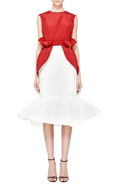 Red Twill Peplum Top by Natasha Zinko for Preorder on Moda Operandi