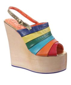 Another great find on #zulily! Natural Rainbow Chica Chola Leather Platform Wedge Sandal by Irregular Choice #zulilyfinds