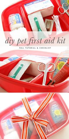 A full tutorial and checklist on how to make your own DIY Pet First Aid Kit for pet related emergencies and accidents. Includes pet medical tips.