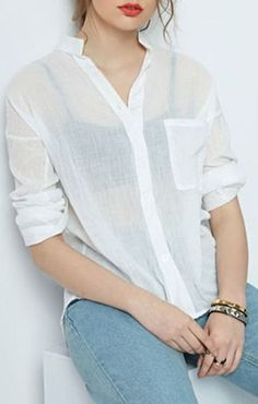 White Stand Collar Roll Up Sleeve Shirt