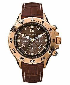 Nautica Watch, Men's Chronograph Brown Leather Strap N18522g