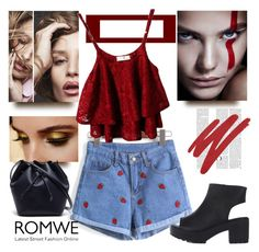 Romwe by fashion-addict35 on Polyvore featuring polyvore fashion style Lacoste NARS Cosmetics clothing