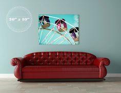 $4300.00-Ferris Wheel Canvas - 30x40 canvas gallery wrap - blue sky - carnival ride - nursery room - home decor - summertime - large wall art