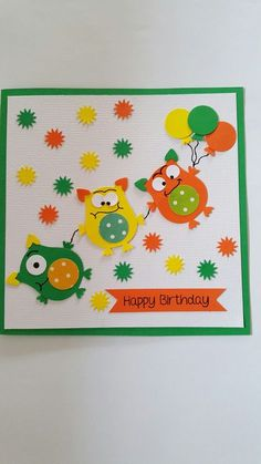 Super Birthday Card Ideas For Boys Year Old Ideas Birthday Cards For Boys, Handmade Birthday Cards, Happy Birthday Cards, Boy Cards, Kids Cards, Cute Cards, Owl Punch Cards, Monster Cards, Baby Kind