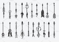 Hand drawn elements collection by Bimbim on arrow tattoo Mini Tattoos, Cute Tattoos, Body Art Tattoos, Ankle Tattoos, Word Tattoos, Small Arrow Tattoos, Small Tattoos, Arrow Tattoos For Women, Temporary Tattoos