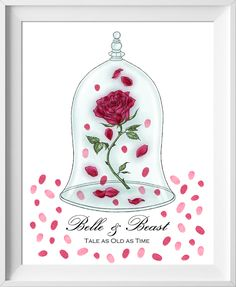 Beauty and the Beast Wedding Guest Book, Enchanted Rose Wedding Guest Book, Disney Guest Book, fingerprint tree, guest book alternative, wedding guestbook