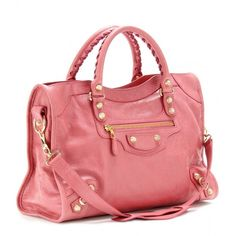 """Finish your look on an iconic note with the """"City"""" tote from Balenciaga. Signature gold-plated studs decorate this watermelon-pink handbag for covetable results we love. Pink Balenciaga, Balenciaga City Bag, Pink Handbags, Large Handbags, Designer Totes, Designer Bags, Designer Clothing, Handbags Online, Fashion Watches"""