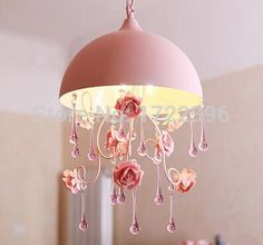 3 Light flowers Crystal LED Pendant Light Lamp,Ceramic and Metal,Princess style,For bedroom living room,Bulb  Included #Affiliate