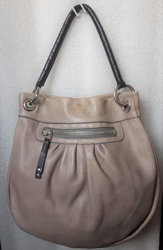 f28ee38d739 Unique vintage ROOTS Canada Genuine Distressed Taupe Grey rugged pebbled  Italian Leather Handmade Large pleated Worn Look Tan shoulder bag