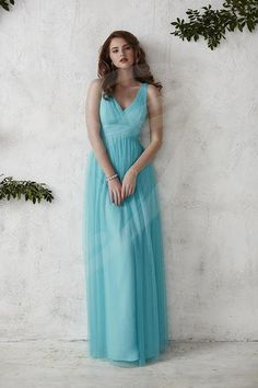 Jacquelin Bridals Canada - 22688 - Bridesmaids - Putting a tulle spin on the ever-popular BM40, this gown is a tank-style, full-length classic. Pictured in: Aqua