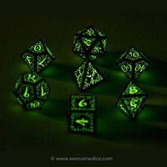 Glow in the Dark Elven Dice