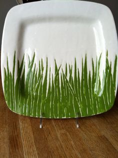 green grass square ceramic serving dinner plate by jessicahoward, $62.00
