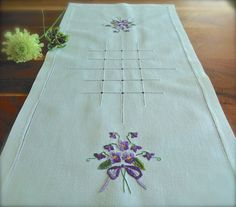Check out this item in my Etsy shop https://www.etsy.com/uk/listing/468847933/hand-embroidered-violets-vintage-linen
