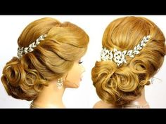 Elegant updo. Wedding hairstyles for medium long hair, tutorial - YouTube