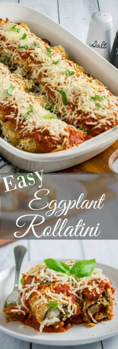 Repin to save recipe for later! Savory oven-fried eggplant stuffed with an herby parmesan and ricotta cheese filling, smothered with marinara sauce and baked to perfection. This Easy Eggplant Rollatini is the perfect meal for when you just have to enjoy a hearty Italian dinner. A perfect match for your favorite bottle of vino, you won't believe how easy this dish is to make!