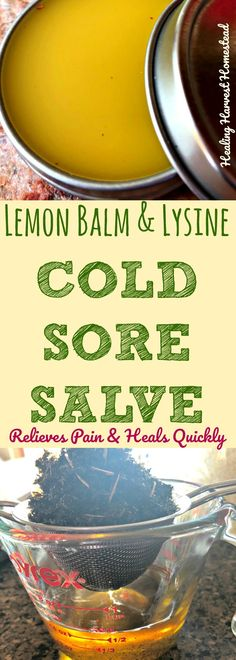 How to make an effective cold sore relief salve...This is an easy cold sore salve recipe, and it contains effective herbs, amino-acids, and essential oils. This cold sore salve will help relieve pain and heal that cold sore fast! You can't beat herbal remedies for helping get rid of fever blisters!