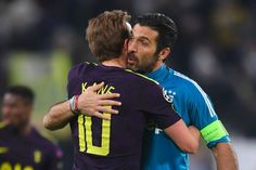 Kane and Buffon embrace after 2-2 draw in Champions League last 16 first leg match in Turin. 13/02/18