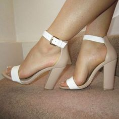 Nude White Barely There Ankle Strap Chunky Heels Sandals Size UK 4 EU 37 US 7 in Clothes, Shoes & Accessories, Women's Shoes, Heels Stilettos, High Heels, Pumps, Zapatos Shoes, Shoes Heels, Cute Shoes, Me Too Shoes, Heeled Boots, Shoe Boots