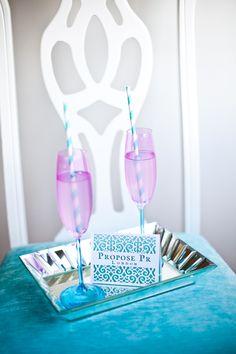 #proposepr #tiffanyblue #hotpink #champagnecocktail #weddingmarketing Champagne Cocktail, Tiffany Blue, Hot Pink, Mint, Turquoise, Color, Tiffany Blue Color, Pink, Green Turquoise