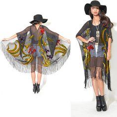 100% Silk Burnout Velvet Drape Gypsy Fringe Kimono Festival Dress Cape Jacket on Etsy, $98.00