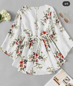 Floral Print Surplice Drawstring Waist DressFor Women-romwe - My CMS Cute Casual Outfits, Pretty Outfits, Stylish Outfits, Emo Outfits, Dress Outfits, Girls Fashion Clothes, Fashion Dresses, Floral Blouse Outfit, Only Shirt