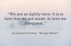 from Boogie Street - Leonard Cohen
