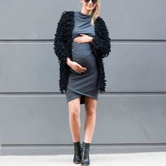 Look like a BAE during pregnancy, love our Cher dress worn back with a Zara shaggy knit cardigan