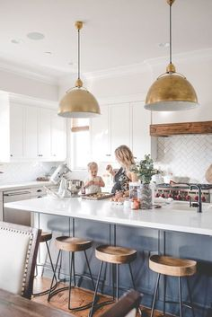 kaila walls kitchen blue island white kitchen gold pendants eugene pendants - Host your website with VPS Hosting which can accomodate ten thousands visitors a day - kaila walls kitchen blue island white kitchen gold pendants eugene pendants Gold Kitchen, Kitchen Pendants, Home Decor Kitchen, Interior Design Kitchen, Home Kitchens, Gold Pendants, Kitchen Lamps, Kitchen Ideas, Kitchen Industrial