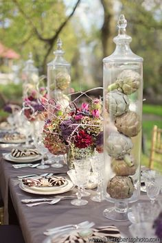 unique silver inspired centerpieces by Whimsical Gatherings