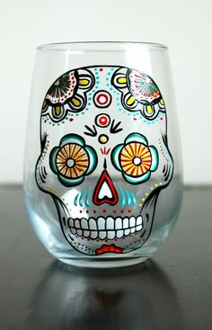 4b433d3792ab Sugar Skull - Hand Painted Stemless Wine Glass - Día de Muertos - Day of  the Dead Glasses