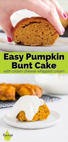 This easy pumpkin cake recipe is a super moist bundt cake recipe. It's made with Greek yogurt and topped with a delicious, cream cheese whipped cream. Perfect fall dessert to celebrate Halloween or another fall party. Pumpkin Bunt Cake, Pumpkin Cake Recipes, Soften Cream Cheese, Cake With Cream Cheese, Baking Recipes, Dessert Recipes, Pumpkin Curry, Bunt Cakes, Homemade Desserts