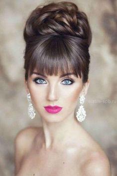 Coiffure mariage 2019  150 modèles de coiffure pour mariage 2019. Coupe de mariage  chignon haut structuré