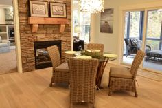 kitchen dining in front of the fireplace #paradehome #dining #michigan